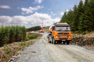 Keohane Readymix deliver construction materials to wind turbine in West Cork